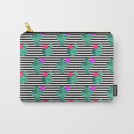 Cactus Stripes White Background Carry-All Pouch
