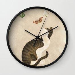 Minhwa: cat & butterflies (Korean traditional/folk art)  Wall Clock