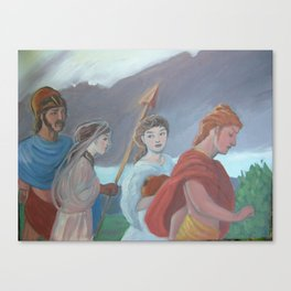 Oil sketch for Four Walking Deities Canvas Print