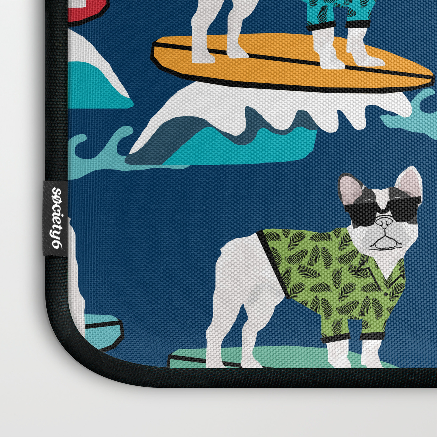 760d18bcc32d French Bulldog surfing pattern Laptop Sleeve by foreverfrenchies   Society6