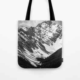 Black and White Canadian Rockies Tote Bag