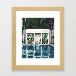 Pool House California Greek Revival Sunshine Reflections Framed Art Print