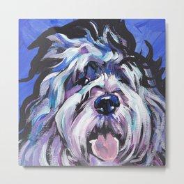 fun Polish Lowland Sheepdog Dog bright colorful Pop Art Metal Print