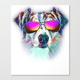 Australian Shepherd Colorful Neon Dog Sunglasses Canvas Print