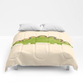 Rainbow colored dinosaur (stegosaurus) Comforters