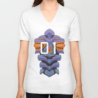 evangelion V-neck T-shirts featuring EVANGELION ANIMA UNIT 01 BACK by F4LLEN_LEAF