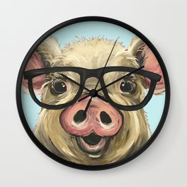 Cute Pig Painting, Farm Animal with Glasses Wall Clock