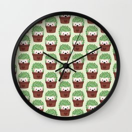 Hedgehogs disguised as cactuses Wall Clock