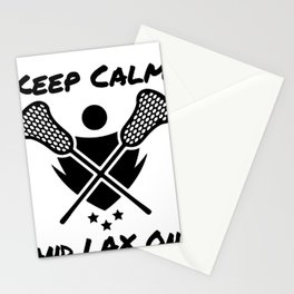 Lacrosse Keep Calm and LAX On Lacrosse Player Stationery Cards