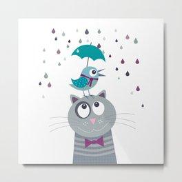 Cat and Bird Love Rainy Day Metal Print