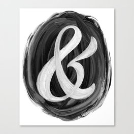 Thick Swirl Ampersand Black & White Canvas Print