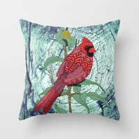 virginia Throw Pillows featuring Virginia Cardinal by ArtLovePassion