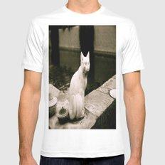 Concrete Cat Mens Fitted Tee MEDIUM White
