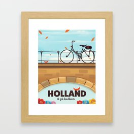 Holland Bicycle travel poster Framed Art Print
