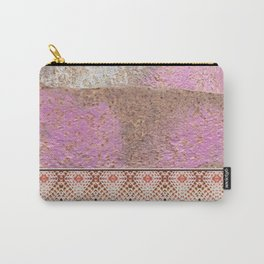 Industrial Pink Painted Cement and Graphic Snake Skin Carry-All Pouch