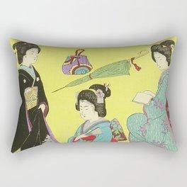 Japanese Art Print - Flowers of the City Rectangular Pillow