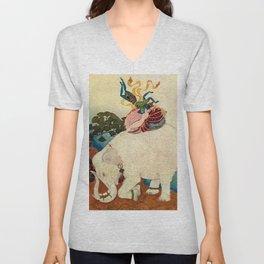 """The Elephant Pearl"" Fairy Tale Art by Edmund Dulac Unisex V-Neck"