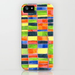 Warm Spring Time Grid iPhone Case