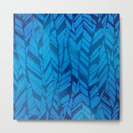 feather texture in blues Metal Print