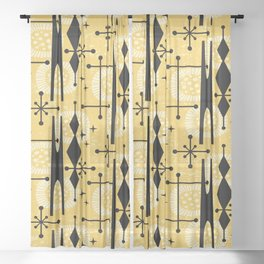 Retro Atomic Mid Century Pattern 771 Yellow Sheer Curtain