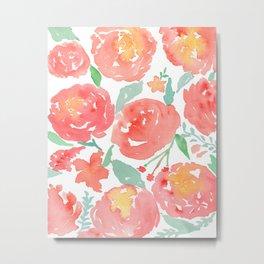 Peony Garden Coral_ Watercolor Floral Art Metal Print