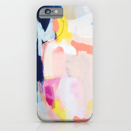 Passions II - abstract art in navy, blush, teal, white, and yellow iPhone Case