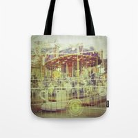 carousel Tote Bags featuring Carousel  by Amber Hakim