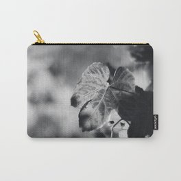 Autumn Grape Leaf in Black and White Carry-All Pouch