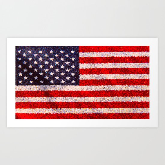 Stained Glass Old Glory Art Print