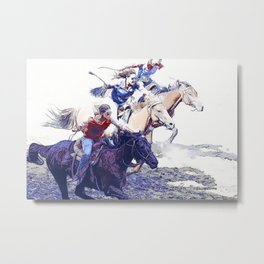 Horse Racing Cowgirls Metal Print