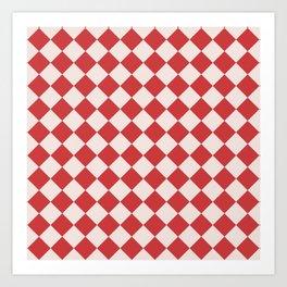 Red and White Checkered Diamond Pattern Art Print