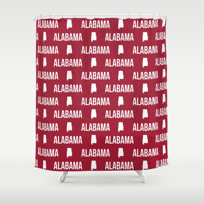 Alabama Bama Crimson Tide Pattern Football Varsity Alumni Shower Curtain By