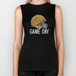 Super Bowl Game Day League Football Player Leopard Helmet Biker Tank