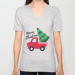 Merry Christmas Red Truck Design  Unisex V-Neck
