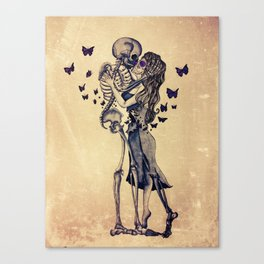 Always Kiss Goodnight Skeletons Canvas Print