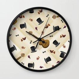 Guitar & Hats Wall Clock
