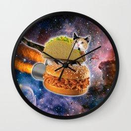 Space Taco Cat Rocket Burger Wall Clock