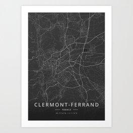 Clermont-Ferrand, France - Dark Map Art Print