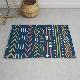Abstract Mudcloth - Limited Color Palette in Coral Teal Mustard Gray Rug