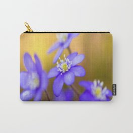 Spring Wildflowers, Beautiful Hepatica in the forest on a sunny and colorful background Carry-All Pouch