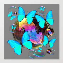 SURREAL NEON BLUE BUTTERFLIES  & SOAP BUBBLES GREY Canvas Print