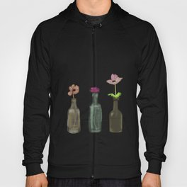 flowers in glass bottles . Pastel colors . artwork . Hoody