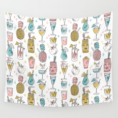Tropical cocktails summer drinks pineapple tiki bar pattern by andrea lauren Wall Tapestry