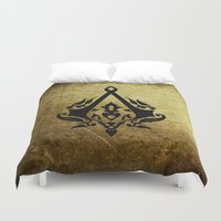 assassins creed Duvet Covers featuring Creed Assassins Grunge Logo by DavinciArt