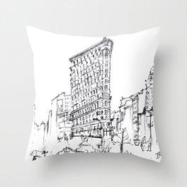 NYC Flatiron Building Sketch Throw Pillow