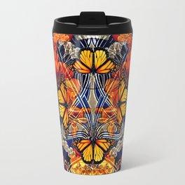 Art Nouveau Nasturtium and Butterflies Pattern Travel Mug