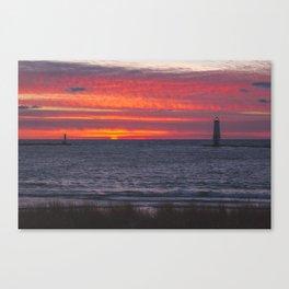 Sunset at Frankfort Light | Traverse City, Michigan | John Hill Canvas Print