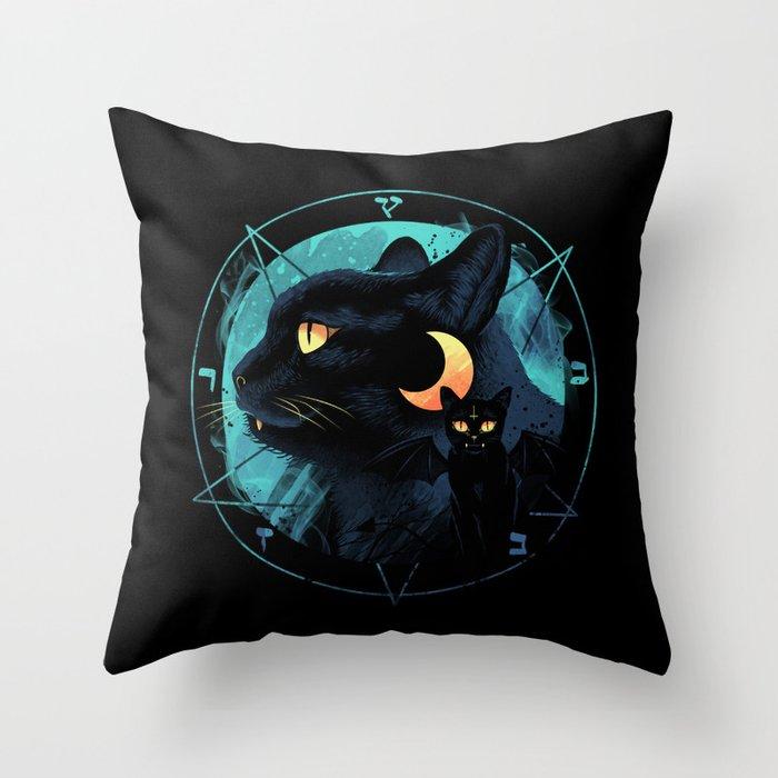 Puss the Devil Cat Throw Pillow