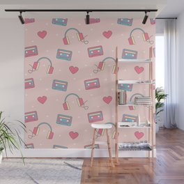 cute colorful pattern with headphones, hearts, dots and cassette tapes Wall Mural