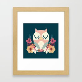 Floral Owl / Cute Animal Framed Art Print